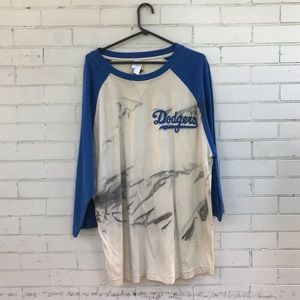 Dodgers Baseball LA Raglan Reebok XL T-Shirt NWT!